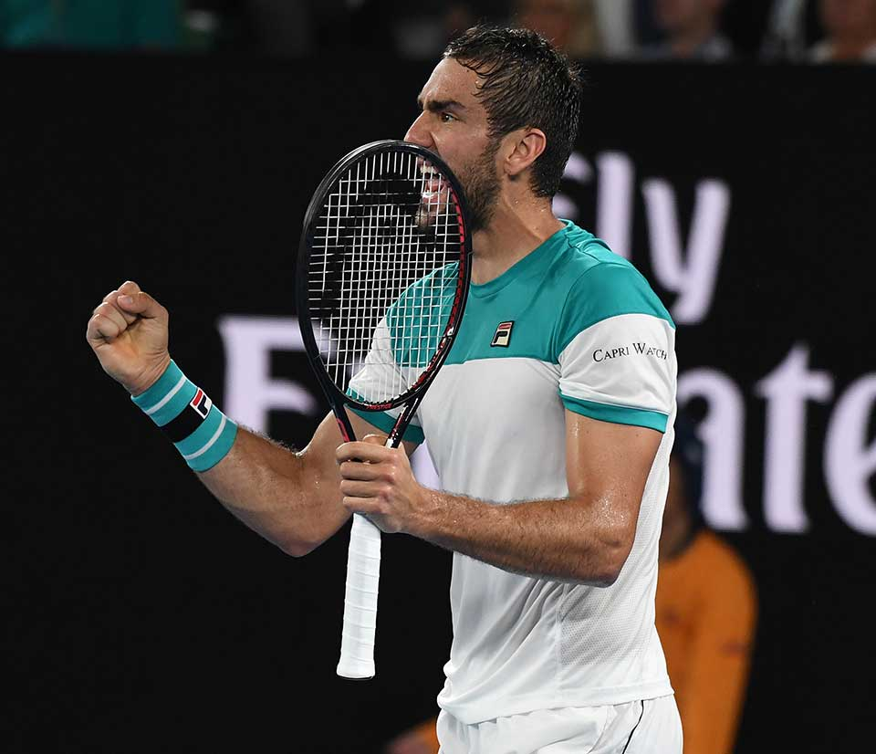 Marin Cilic in action at the Australian Open in 2018