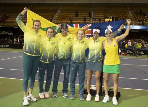 Australia celebrate victory over US to reach semi finals (l to r) Captain Alicia Molik (AUS), Kimberly Birrell (AUS), Astra Sharma (AUS), Daria Gavrilova (AUS), Priscilla Hon (AUS) and Ashleigh Barty (AUS)